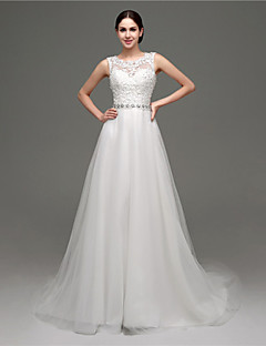 A-line Wedding Dress - White Court Train Scoop Tulle