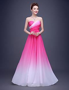 Robe de Demoiselle d'Honneur - Bleu ciel/Rose Bonbon Fourreau Sans bretelles Longueur ras du sol Mousseline polyester/Polyester