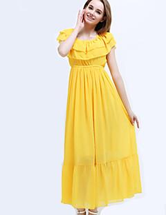 Women's Sexy Casual Cute Party Maxi Inelastic Short Sleeve  Dress (Chiffon)