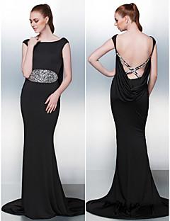 Formal Evening Dress - Black Trumpet/Mermaid Jewel Court Train Jersey