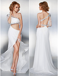 Prom/Formal Evening Dress - Ivory A-line One Shoulder Sweep/Brush Train Chiffon
