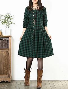 Women's Round Neck Pocket/Button Check Loose Casual Dress , Cotton/Linen Knee-length Long Sleeve
