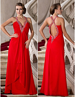 Formal Evening/Prom/Military Ball Dress - Ruby Plus Sizes A-line/Princess V-neck/Straps Floor-length Chiffon