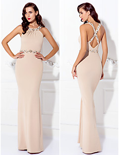 TS Couture Formal Evening Dress - Champagne Plus Sizes / Petite Sheath/Column Jewel Floor-length Jersey