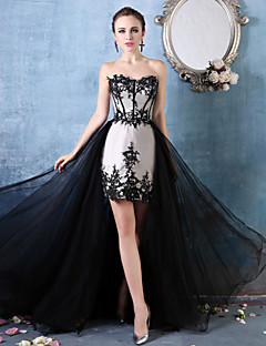 Formal Evening Dress - Ruby/Black Trumpet/Mermaid Sweetheart Asymmetrical Lace/Tulle/Charmeuse