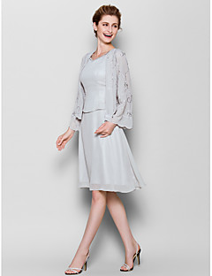 Sheath/Column Mother of the Bride Dress - Silver Knee-length Long Sleeve Chiffon