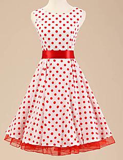 50s cabeçada das mulheres bolinhas vestido sem mangas rockabilly do vintage (para não incluir anágua)