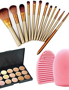 12pçs profissionais pincéis de maquiagem cosméticos conjunto + corretivo paleta 15cores + 1pç ferramenta de limpeza pinceis