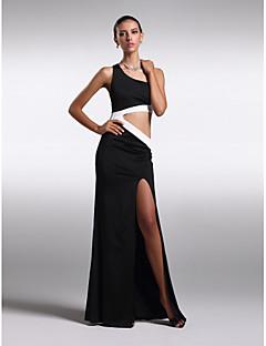 Formal Evening Dress - Black Plus Sizes / Petite Sheath/Column Jewel Floor-length Chiffon