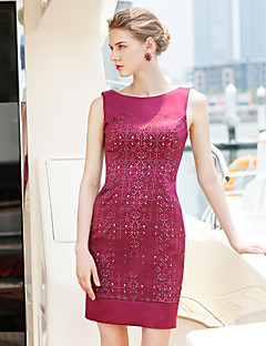 Cocktail Party Dress - Burgundy Plus Sizes Sheath/Column Jewel Short/Mini Satin