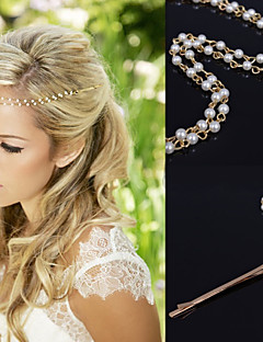 Gold Chain Layered Tassel  with Pearl Beads Strand Hair Head Chain Clip for Lady Casul Hair Jewelry