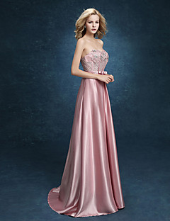 Formal Evening Dress - Plus Size A-line Sweetheart Floor-length Stretch Satin