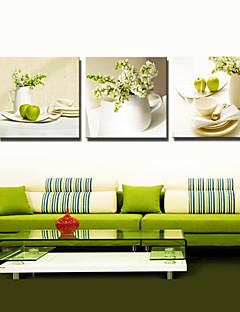 걸 준비 부엌 장식에 대한 시각적 star®3 패널 꽃 녹색 정물화 그림 캔버스 벽 예술