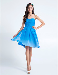 Lanting Bride® Knee-length Chiffon Color Gradient Bridesmaid Dress - A-line Sweetheart Plus Size / Petite with Criss Cross