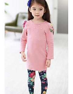 Mädchen Kleidungs Set einfarbig Baumwolle / Polyester Winter / Frühling / Herbst Blau / Rosa