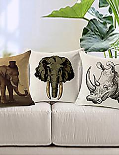 set om 3 levande djur mönstrar bomull / linne dekorativa örngott