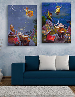 E-HOME® Stretched LED Canvas Print Art People Who Climb Up The Sky LED Flashing Optical Fiber Print Set of 2