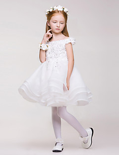 Flower Girl Dress - Linha-A Coquetel Sem Mangas Renda/Organza/Poliéster