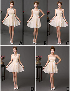 Short / Mini Chiffon Mix & Match Sets Bridesmaid Dress - A-line Straps with Ruffles / Sequins
