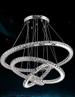 Luxury LED Crystal Pendant Lights Ceiling Chandeliers Lamp with 4 Rings Large Ring(Warm White),Other(Cool White)