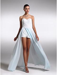 Formal Evening Dress - Sky Blue Plus Sizes / Petite Sheath/Column Sweetheart Floor-length Chiffon / Lace