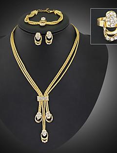 Mulheres Conjunto de Jóias Moda Bijuterias Destaque Comprimento Longo bijuterias Chapeado Dourado Imitações de Diamante Jóias Brincos