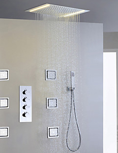Contemporary Rain Shower Widespread Handshower Included LED with  Ceramic Valve Four Handles Five Holes for  Chrome , Shower Faucet