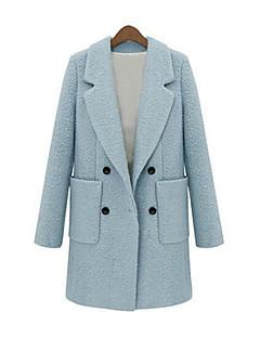 Mulheres Casaco Vintage Inverno,Sólido Azul / Bege Lã / Algodão / Outros Colarinho de Camisa-Manga Longa Grossa