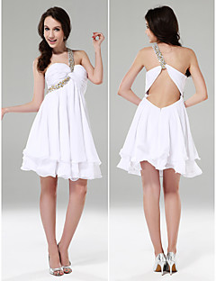 Cocktail Party/Graduation/Sweet 16/Holiday Dress - White Plus Sizes A-line/Princess One Shoulder/Sweetheart Short/MiniChiffon/Stretch