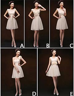 Knee-length Chiffon Bridesmaid Dress - Blushing Pink/Champagne Sheath/Column Scoop