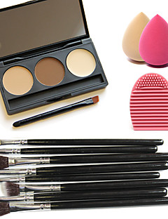 3 Colors Facial Concealer Palette+8pcs Brushes+Brush Cleaning Tool+Beauty Makeup Foundation Egg Puff(Assorted Sets)