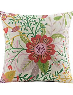printemps motif de fleur de coton / lin taie d'oreiller décoratif