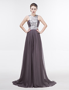 Dress - Silver Sheath/Column Jewel Floor-length Chiffon
