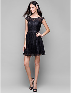 Lanting Bride Short / Mini Lace Bridesmaid Dress A-line Scoop with Lace