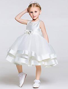 גזרת A באורך  הברך שמלה לנערת הפרחים - טול / פוליאסטר ללא שרוולים עם תכשיטים עם