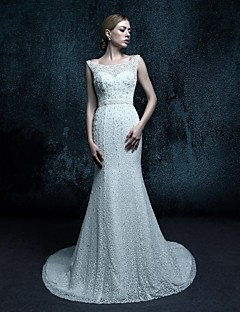 Sheath/Column Sweep/Brush Train Wedding Dress - Scoop Lace