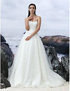 A-line Court Train Wedding Dress - Strapless Lace/Tulle