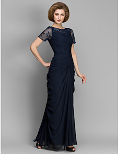 LAN TING BRIDE 시스 / 칼럼 신부 어머니 드레스 - 우아한 바닥 길이 짧은 소매 쉬폰 - 비즈 루시 주름 장식