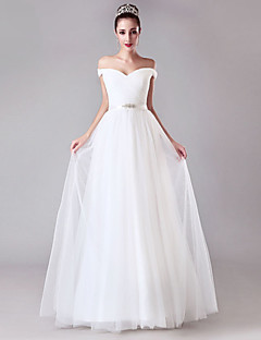 Sheath/Column Wedding Dress - White Floor-length Off-the-shoulder Tulle