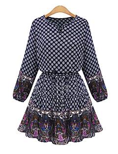 Women's Polka Dot / Patchwork / Lace Blue / Beige Dress , Sexy / Plus Sizes Round Neck Long Sleeve