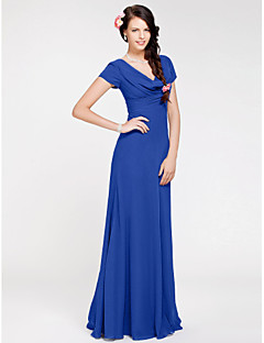 LAN TING BRIDE Floor-length Georgette Bridesmaid Dress - Sheath / Column Cowl Plus Size / Petite with Side Draping