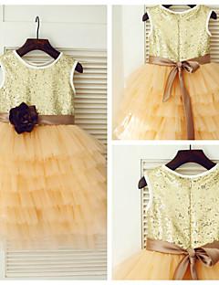 Vestido para Meninas das Flores - Princesa Coquetel Sem Mangas Cetim/Tule/Lantejoulas
