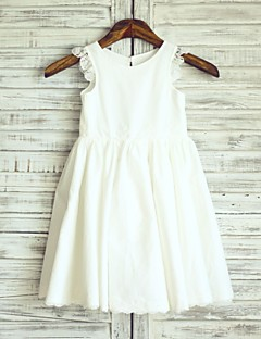 Princess Knee Length Flower Girl Dress - Cotton Lace Sleeveless Scoop Neck with Pleats
