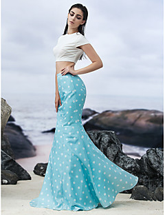 Formal Evening Dress - Multi-color Trumpet/Mermaid Jewel Floor-length Knit