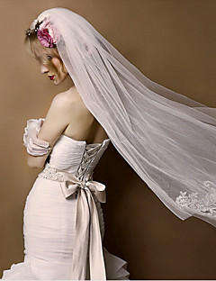Wedding Veil Two-tier Birdcage Veils Cut Edge