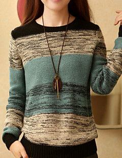 Women's New Loose Round Collar Long Sleeve Color Block Pullover
