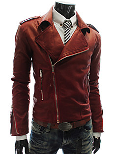 Men's Asymmetrical Coats & Jackets , Acrylic/Leather Long Sleeve Casual/Work Winter/Fall CWFM