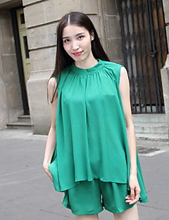 Women's Beach Dress,Solid Knee-length Sleeveless Green Polyester Summer