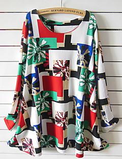 Vrouwen Street chic Herfst T-shirt,Casual/Dagelijks / Grote maten Print Ronde hals Lange mouw Wit Katoen / Spandex Medium