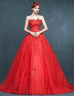 Ball Gown Wedding Dress - Ruby Sweep/Brush Train Sweetheart Tulle